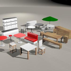 3D chairs tables bar restaurant