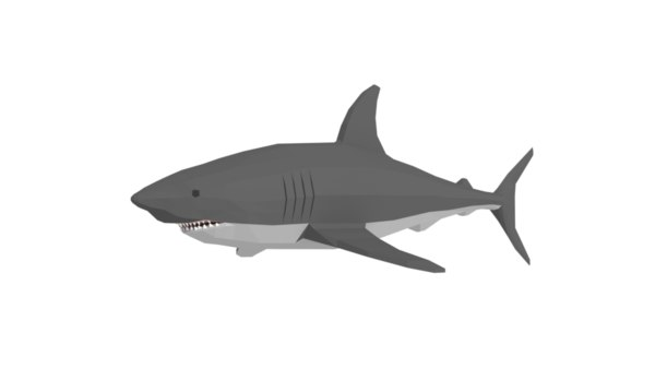 3D model shark cartoon