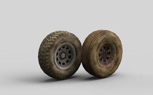 3D old car wheels