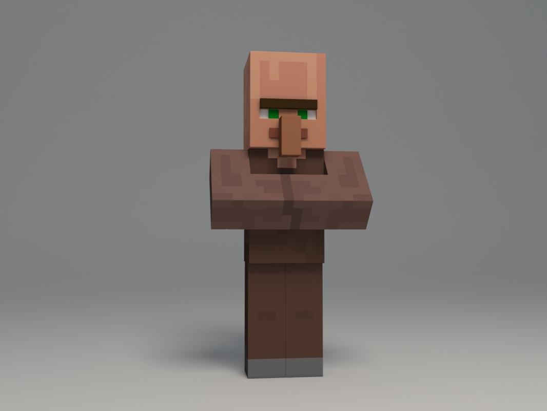 3D minecraft villager