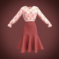 ruffled blouse skirt model