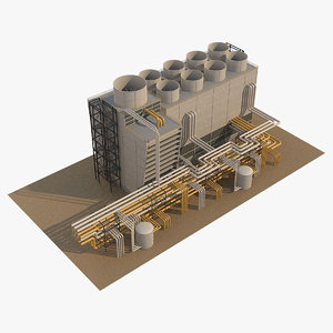 3D industrial cooling tower 3