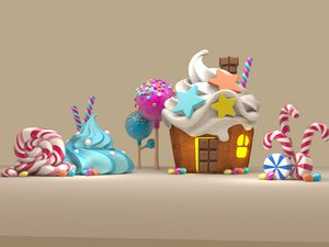 sweet cake house icecream 3D model