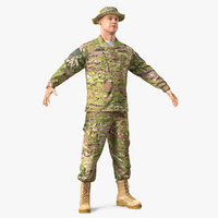 army soldier t-pose fur 3D model
