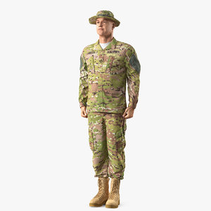 3D soldier standing attention acu