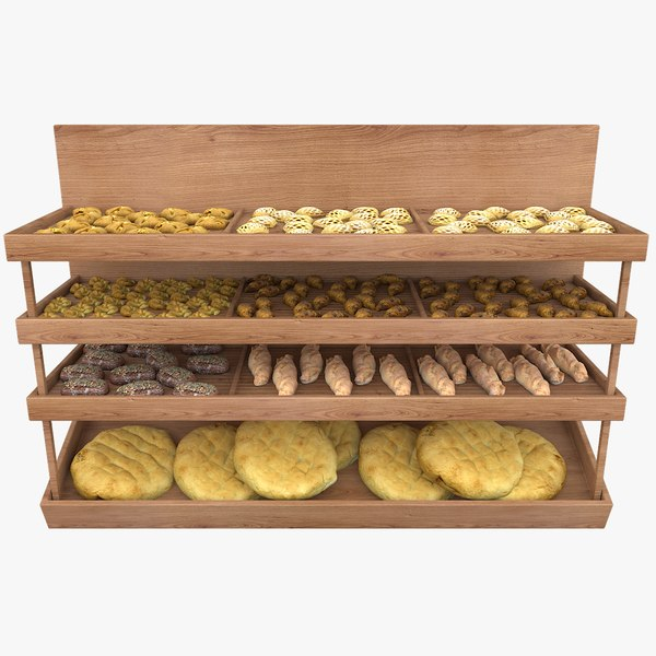supermarket shelving bread 3D model