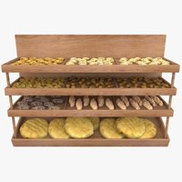 supermarket shelving bread 3D model