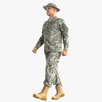 soldier acu walking pose 3D