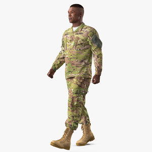 3D model walking soldier camouflage fur