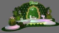 Green fresh plants stage design 3D model