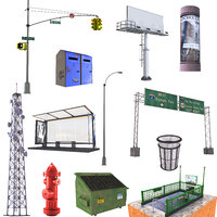 3D model street set sign 2