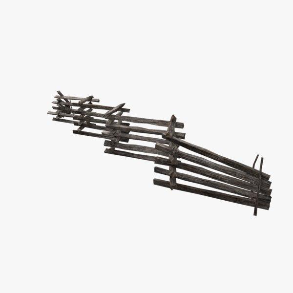split rail fence 3D