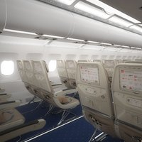 3D aircraft economy class interior