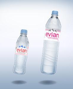3D pack 2 bottles evian
