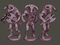 3D model minotaur warrior agressive axes
