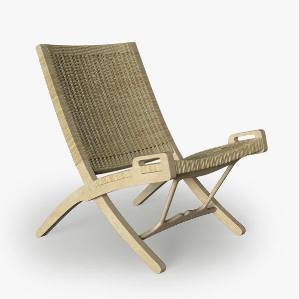 wegner wicker chair pp obj