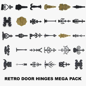 3D retro door gate hinges model