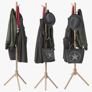 lendra deluxe wooden coat rack 3D model