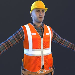 3D worker man helmet model