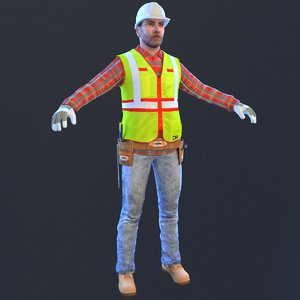 worker man helmet 3D model