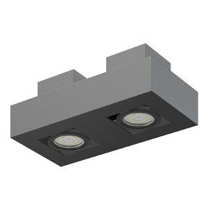 3D model black double rectangular halogen light
