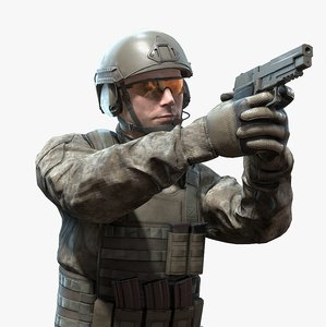 pistol soldier rigged realtime 3D