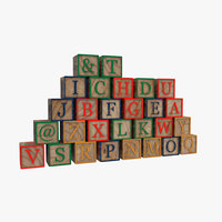 alphabet blocks 3D