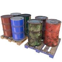 3D model barrels pallets
