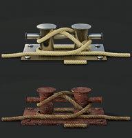 Mooring Sea Bollard with Rope Knot 2