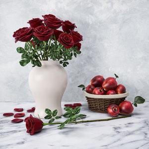 3D red roses model