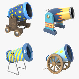 3D cartoon cannon pack model