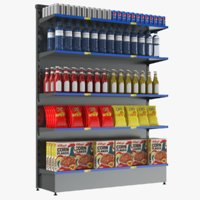 supermarket shelves 3D model