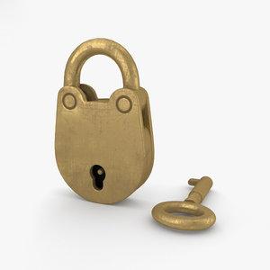 3D padlock lock