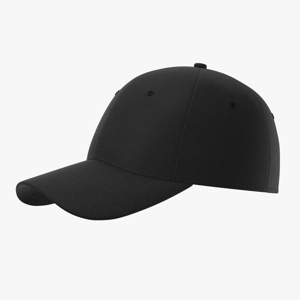 baseball cap black 3D model