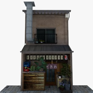 3D old restaurant bar model