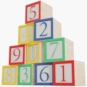 3D wooden number blocks model