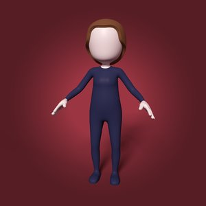 3D cartoon woman girl mesh model