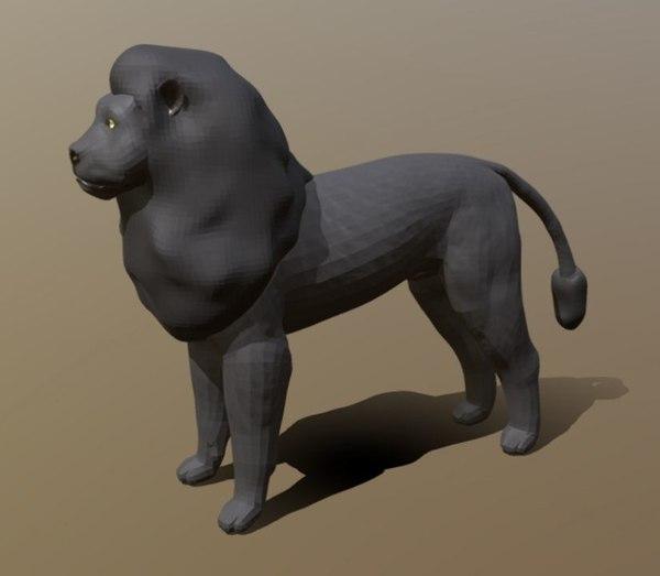 3D black lion mesh