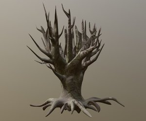 3D old scary tree