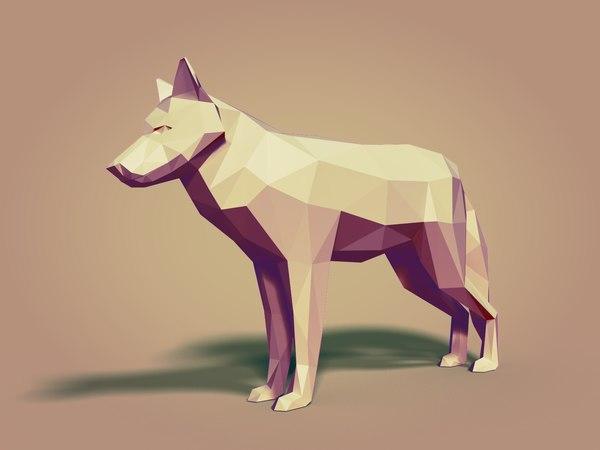 cartoon wolfs ar 3D model