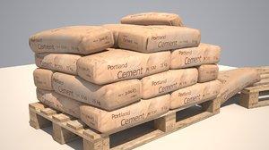3D model cement bag pallet