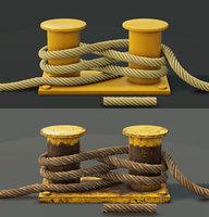 3D mooring sea bollard rope