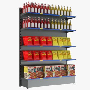 3D supermarket display shelves model
