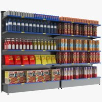 3D supermarket display shelves model