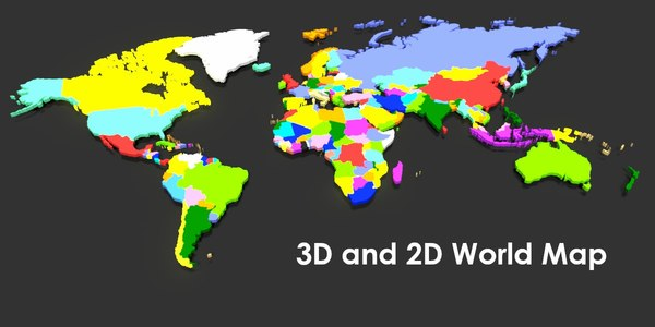 world maps states 3D