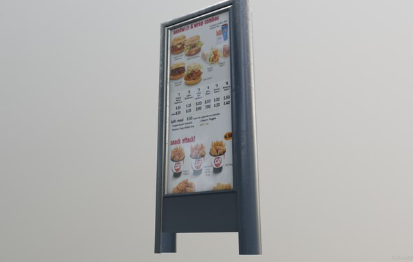 3D model restaurant billboard pbr