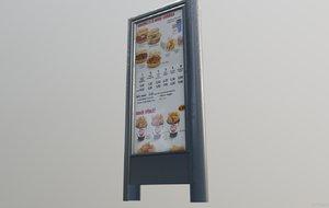 3D model restaurant billboard pbr