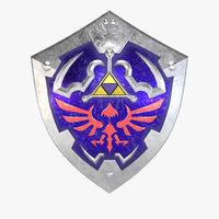 3D hylian shield pbr ready