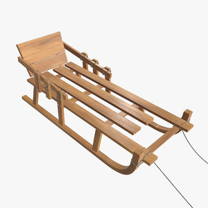 3D wooden sledge sled