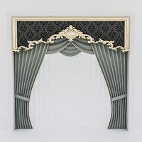 classic curtains windows 3D model